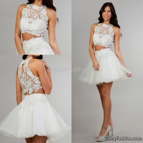 Cheap White Cocktail Dresses 2018: White Short Tight Prom Dresses Looks