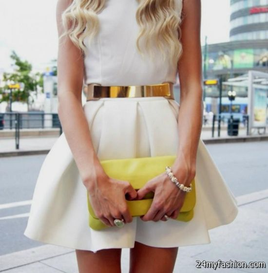white summer dress with brown belt looks b2b fashion