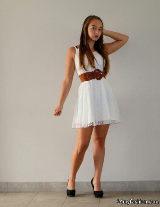 white summer dress with brown belt 2016 2017 b2b fashion