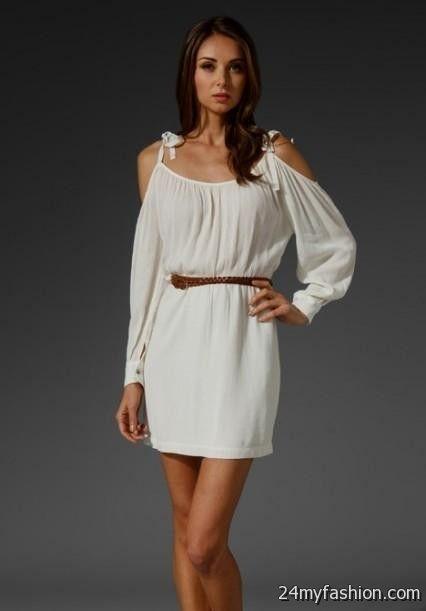 white summer dress with brown belt 20162017 b2b fashion