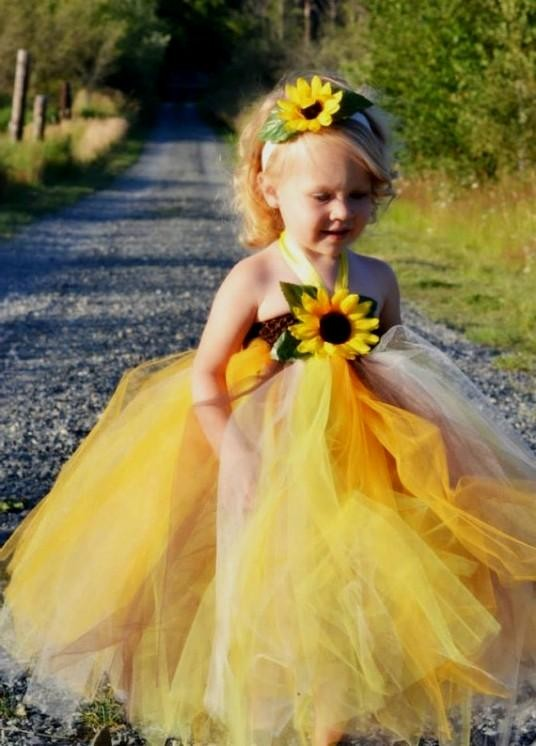 709a7ba59b790 Sunflower Flower Girl Dress – Fashion dresses