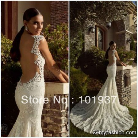 lace wedding dress with open back 2017 2018 b2b fashion