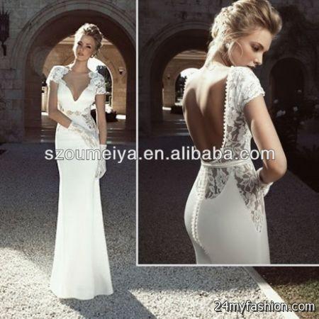 Lace wedding dress with open back 2017 2018 b2b fashion for Short open back wedding dresses