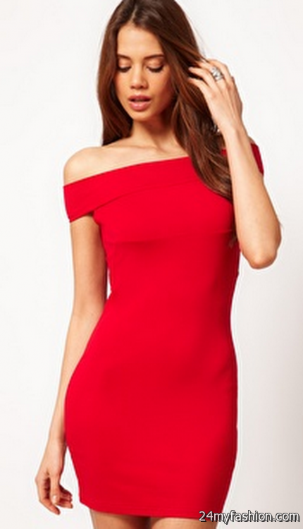 Off the shoulder red dress 2017-2018 » B2B Fashion