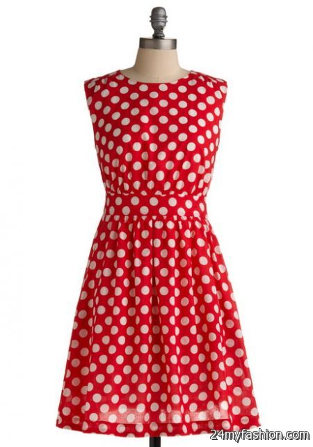Red and white polka dot dress 2017-2018 » B2B Fashion