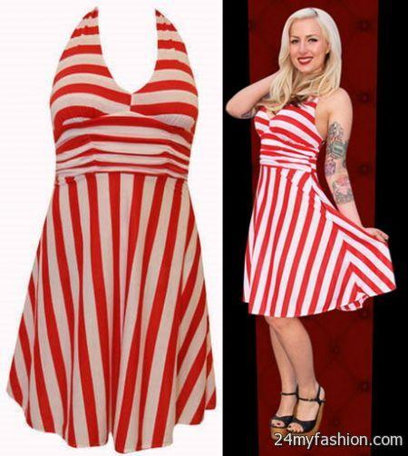 Red and white striped dress 2017-2018 » B2B Fashion