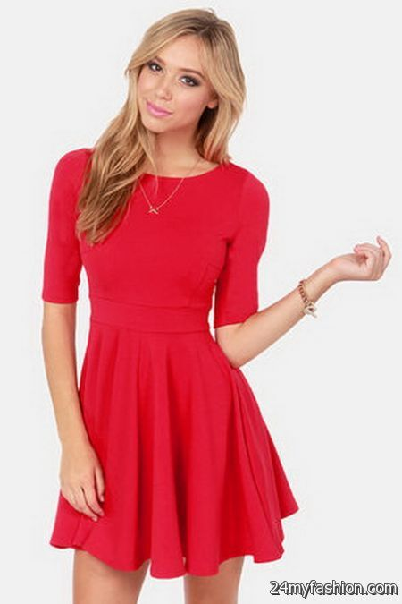 Red long sleeve dresses juniors