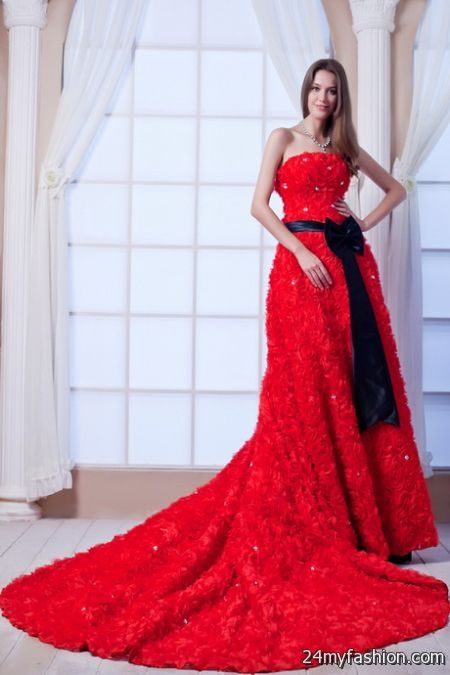 Red Wedding Dresses With Black Lace : Red lace wedding dress b fashion