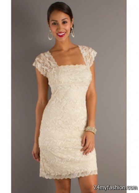 Short ivory lace dress 2017-2018 » B2B Fashion