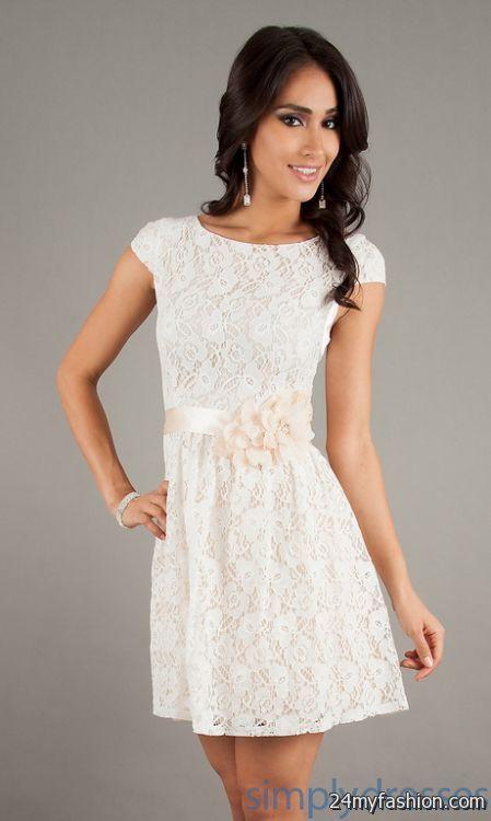 Short ivory lace dress 2017-2018 » B2B Fashion