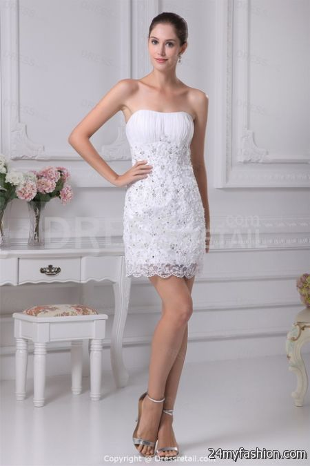Short white lace wedding dress 2017-2018 » B2B Fashion