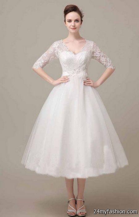 Tea Length Wedding Dresses With Sleeves 2017 2018 B2b