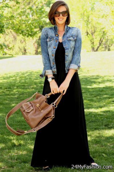 Black jacket with maxi dress