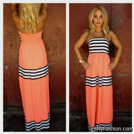 Strapless maxi dress coral