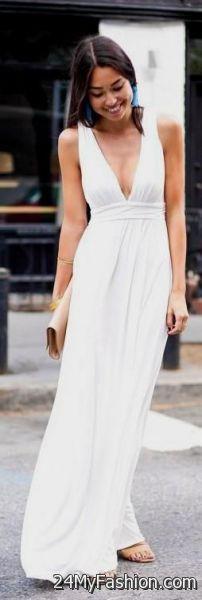 91d29a3cd86a white v neck maxi dress 2017-2018