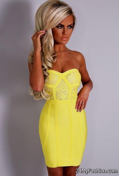 Yellow strapless bandage dress