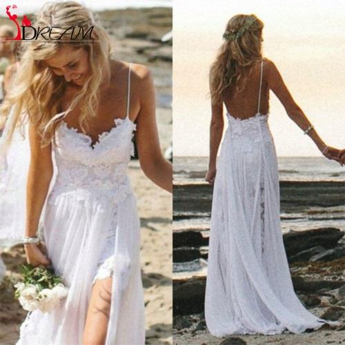 Bohemian-Wedding-Dresses-2017-Boho-Spaghetti-Sweetheart-Lace-Chiffon-Side-Slit-font-b-Beach-b-font