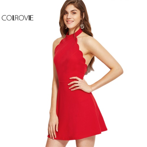 COLROVIE-Sexy-Dress-Club-Wear-2017-Summer-A-Line-Mini-Dress-Ladies-Red-Halter-Neck-Backless