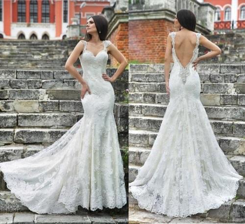 Cap-Sleeve-Mermaid-Lace-font-b-White-b-font-Long-Wedding-font-b-Dresses-b-font