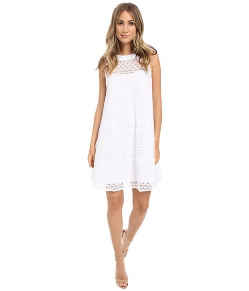 Discount 2017 Donna Morgan White Baby Doll Dresses for Women - Sleeveless Novelty Woven Trapeze Dress Sale UK 3799