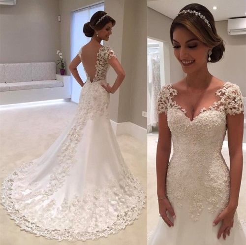 Fashion-White-Backless-Lace-A-Line-Wedding-Dresses-2017-V-Neck-Short-Sleeve-Wedding-Gown-Bride-Dress-Wedding-Gowns-