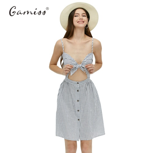 Gamiss-2017-Women-Summer-Dresses-Cotton-and-Linen-Backless-Spaghetti-Strap-Dress-Blue-Striped-Casual-New