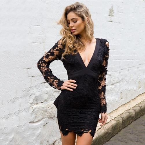 Sexy-Bow-Fringe-Lace-Black-Mini-Dress-2017-Summer-Deep-V-Neck-Long-Sleeve-Backless-Crochet