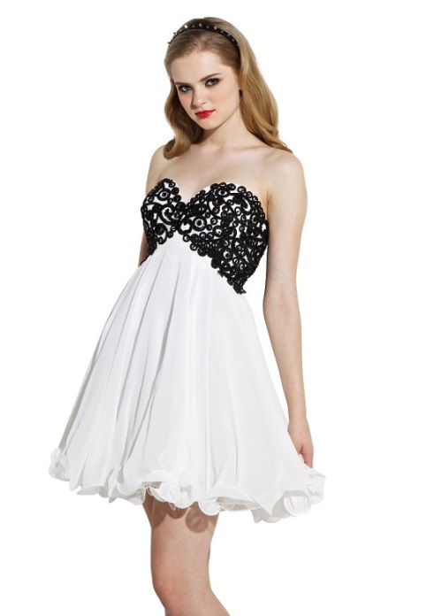 amazing_short_black_and_white_prom_dresses_unique_cheap