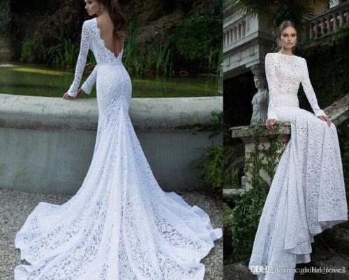 Backless Lace White Dress 2017-2018