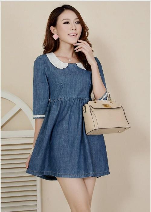 free-shipping-lace-petal-collar-empire-waistline-loose-fitting-fashion-denim-dresses-korean-japanese-cute-fontjpg