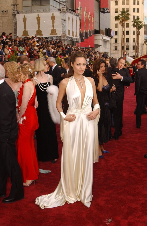 Angelina jolie red wedding dress pictures