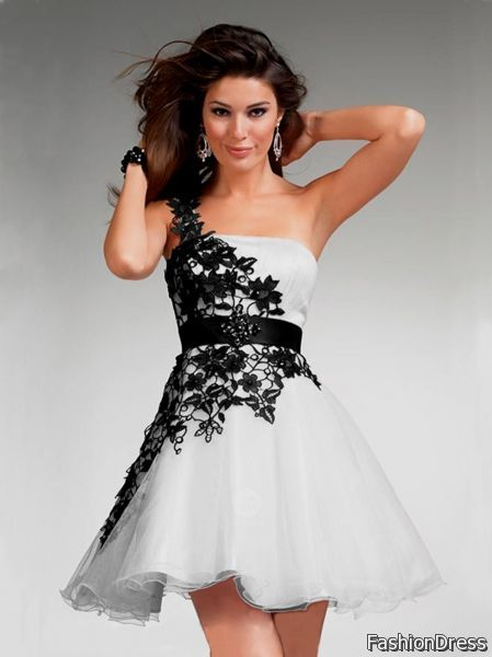 black and white cocktail dress for prom 2017-2018