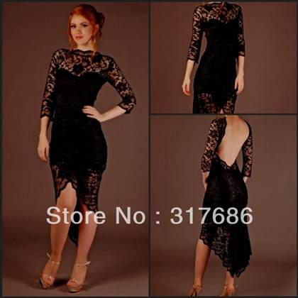 black lace dress with sleeves 2017-2018