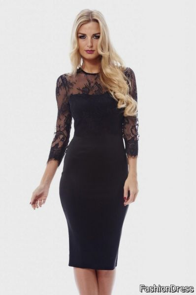 black lace sleeve dress 2017-2018