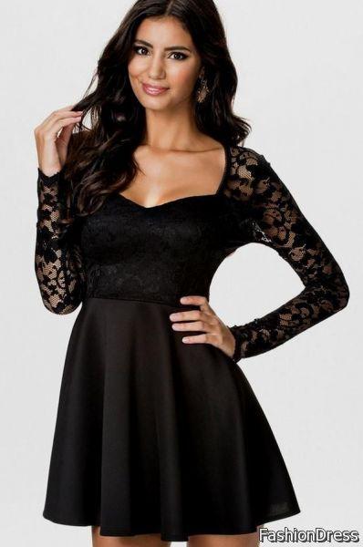black lace sleeve dress 2017-2018