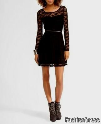 black lace sleeve dress forever 21 2017-2018