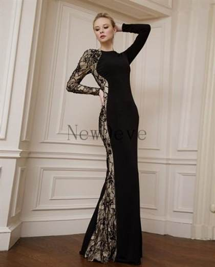 black prom dresses with lace sleeves 2017-2018