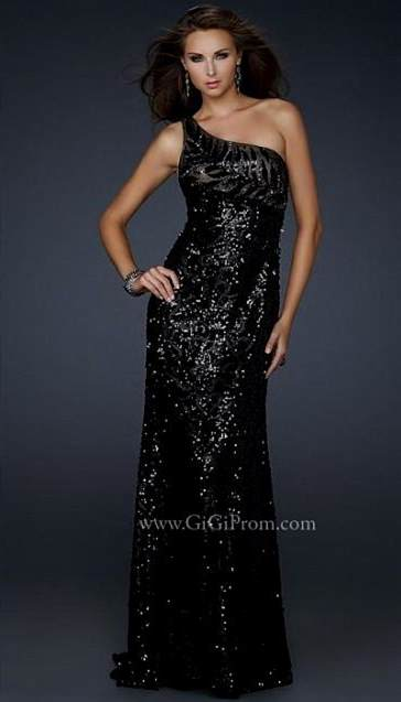black sequin dress one shoulder 2017-2018