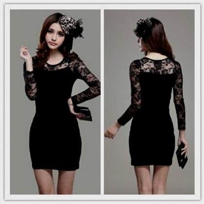 black short dresses with long sleeves 2018