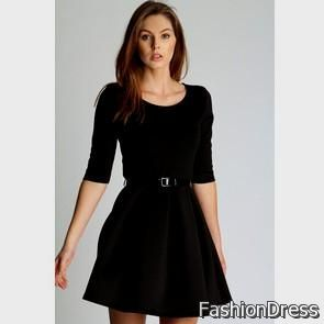 black skater dress with 3/4 sleeves 2017-2018