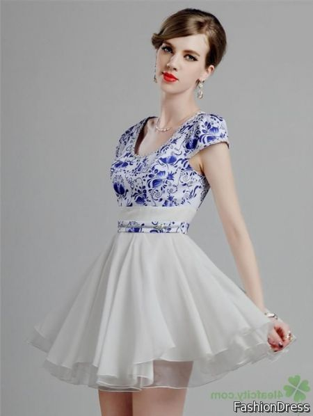 blue and white cocktail dress