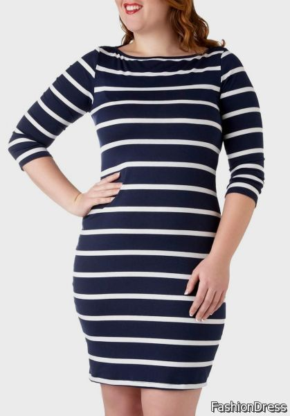 blue and white striped dress 2017-2018