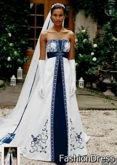 blue and white wedding dress 2017-2018