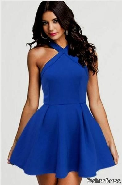blue casual dresses 2017-2018