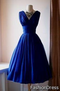 blue vintage cocktail dress 2017-2018