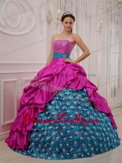 blue with pink dresses for quinceaneras 2018