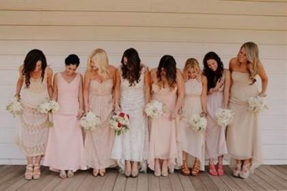 Champagne and Petal Pink Bridesmaid Dresses