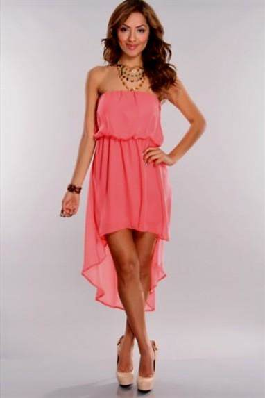 coral high low summer dress 2017-2018