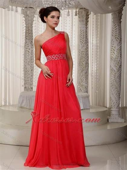 coral one shoulder prom dresses 2018