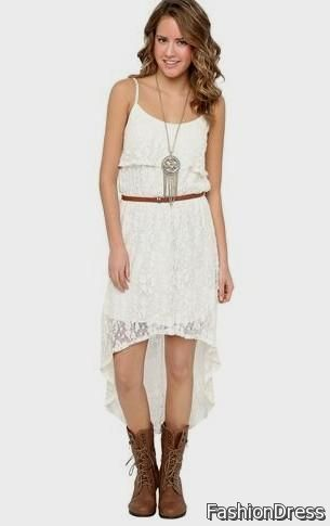high low dresses casual white 2017-2018